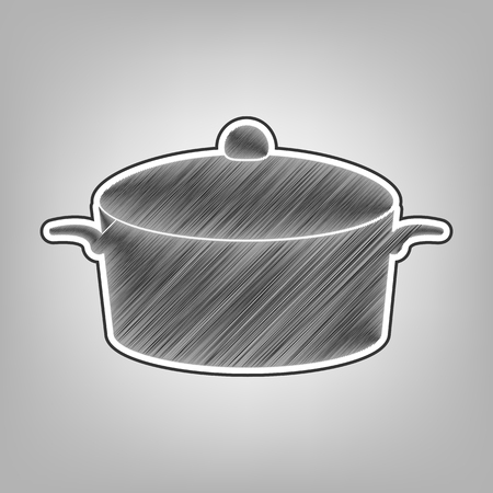 Pan sign. Vector. Pencil sketch imitation. Dark gray scribble icon with dark gray outer contour at gray background. Иллюстрация