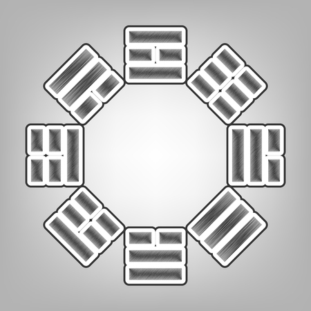 taijitu: Bagua sign. Vector. Pencil sketch imitation. Dark gray scribble icon with dark gray outer contour at gray background.
