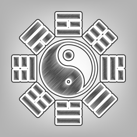 taiji: Yin and yang sign with bagua arrangement. Vector. Pencil sketch imitation. Dark gray scribble icon with dark gray outer contour at gray background.