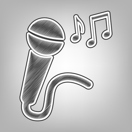 Microphone sign with music notes. Vector. Pencil sketch imitation. Dark gray scribble icon with dark gray outer contour at gray background. Illustration