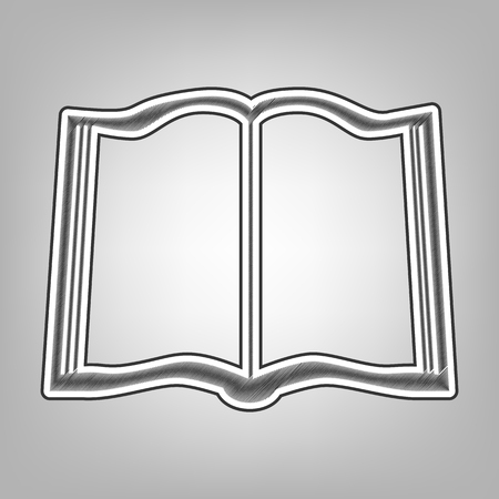 reader: Book sign. Vector. Pencil sketch imitation. Dark gray scribble icon with dark gray outer contour at gray background.