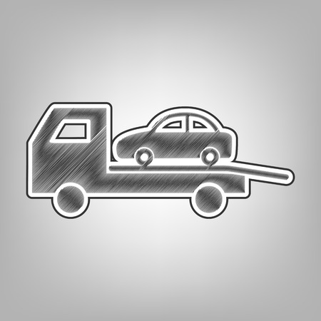 evacuate: Tow car evacuation sign. Vector. Pencil sketch imitation. Dark gray scribble icon with dark gray outer contour at gray background.