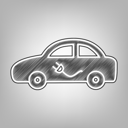 Electric car sign. Vector. Pencil sketch imitation. Dark gray scribble icon with dark gray outer contour at gray background. Illustration