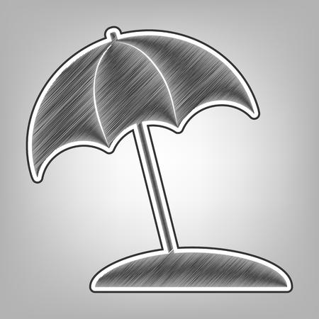 sunshade: Umbrella and sun lounger sign. Vector. Pencil sketch imitation. Dark gray scribble icon with dark gray outer contour at gray background.