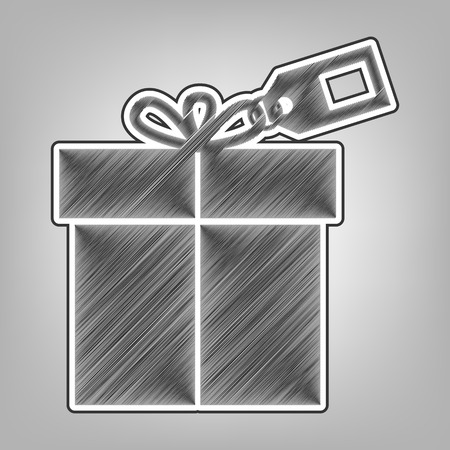 giftware: Gift sign with tag. Vector. Pencil sketch imitation. Dark gray scribble icon with dark gray outer contour at gray background.