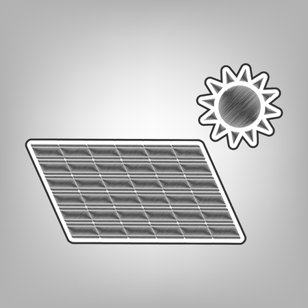 electrical component: Solar energy panel. Eco trend concept sign. Vector. Pencil sketch imitation. Dark gray scribble icon with dark gray outer contour at gray background.