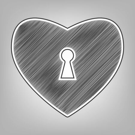 cor: Heart with lock sign. Vector. Pencil sketch imitation. Dark gray scribble icon with dark gray outer contour at gray background. Illustration