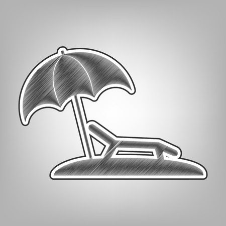 recliner: Tropical resort beach. Sunbed Chair sign. Vector. Pencil sketch imitation. Dark gray scribble icon with dark gray outer contour at gray background. Illustration