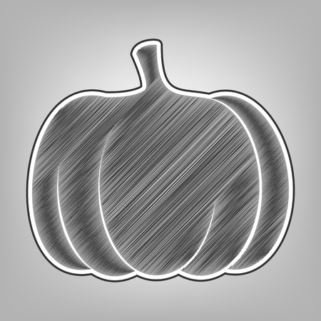 gourds: Pumpkin sign. Vector. Pencil sketch imitation. Dark gray scribble icon with dark gray outer contour at gray background. Illustration