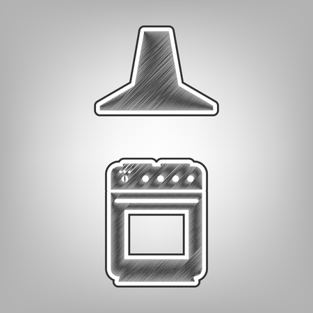 prepare: Electric or gas stove and extractor kitchen hood sign. Vector. Pencil sketch imitation. Dark gray scribble icon with dark gray outer contour at gray background.