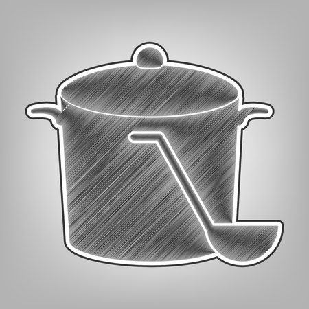 Pan with steam sign. Vector. Pencil sketch imitation. Dark gray scribble icon with dark gray outer contour at gray background.