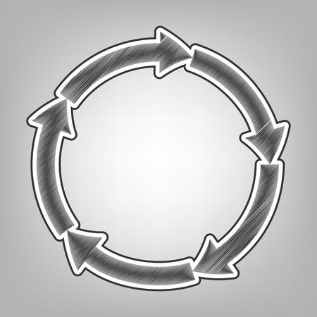 progressing: Circular arrows sign. Vector. Pencil sketch imitation. Dark gray scribble icon with dark gray outer contour at gray background.