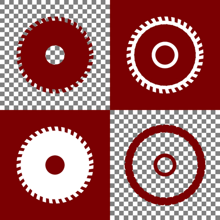 dangerous construction: Saw sign. Vector. Bordo and white icons and line icons on chess board with transparent background.