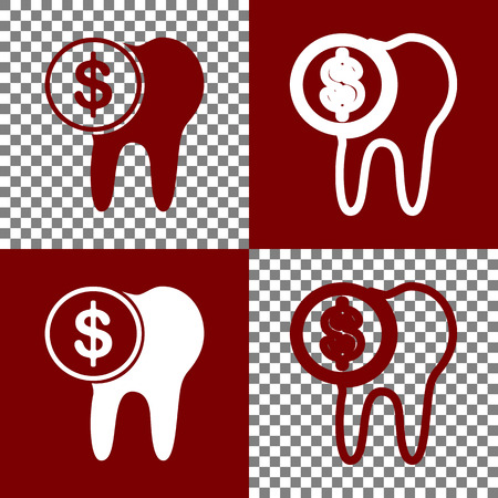 human anatomy: The cost of tooth treatment sign. Vector. Bordo and white icons and line icons on chess board with transparent background.