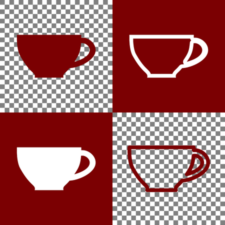 long bean: Cup sign. Vector. Bordo and white icons and line icons on chess board with transparent background.