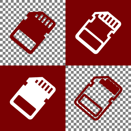 adapters: Memory card sign. Vector. Bordo and white icons and line icons on chess board with transparent background. Illustration