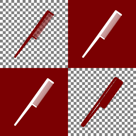 haircutting: Comb sign. Vector. Bordo and white icons and line icons on chess board with transparent background.