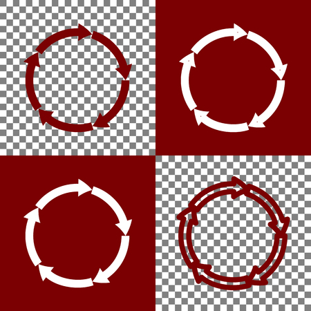 bordo: Circular arrows sign. Vector. Bordo and white icons and line icons on chess board with transparent background.