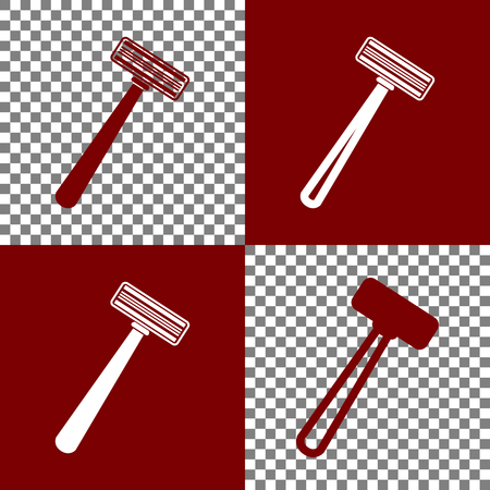 Safety razor sign. Vector. Bordo and white icons and line icons on chess board with transparent background. Illustration