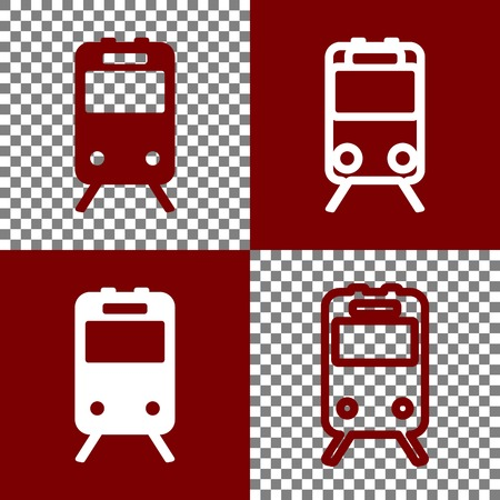 bordo: Train sign. Vector. Bordo and white icons and line icons on chess board with transparent background. Illustration