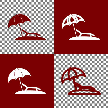 brolly: Tropical resort beach. Sunbed Chair sign. Vector. Bordo and white icons and line icons on chess board with transparent background.