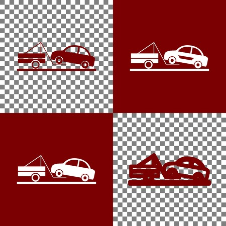 emergency cart: Tow truck sign. Vector. Bordo and white icons and line icons on chess board with transparent background.