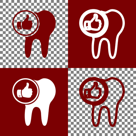 cleanliness: Tooth sign with thumbs up symbol. Vector. Bordo and white icons and line icons on chess board with transparent background.