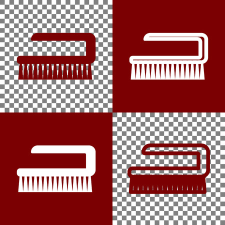 bristles: Ceaning brush hygiene tool sign. Vector. Bordo and white icons and line icons on chess board with transparent background. Illustration