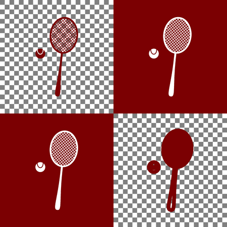 Tennis racquet with ball sign. Vector. Bordo and white icons and line icons on chess board with transparent background.