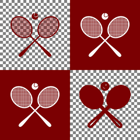Two tennis racket with ball sign. Vector. Bordo and white icons and line icons on chess board with transparent background.