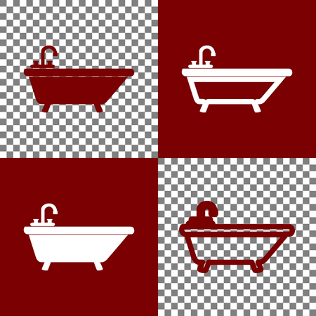 Bathtub sign illustration. Vector. Bordo and white icons and line icons on chess board with transparent background.