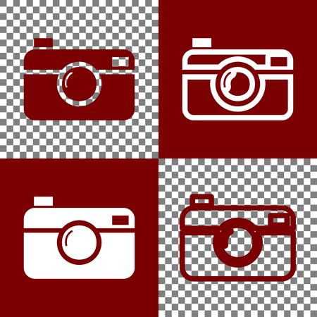 디지털 사진 카메라 기호입니다. 벡터. Bordo 및 흰색 아이콘 및 체스 보드에 선 아이콘을 투명 한 배경.