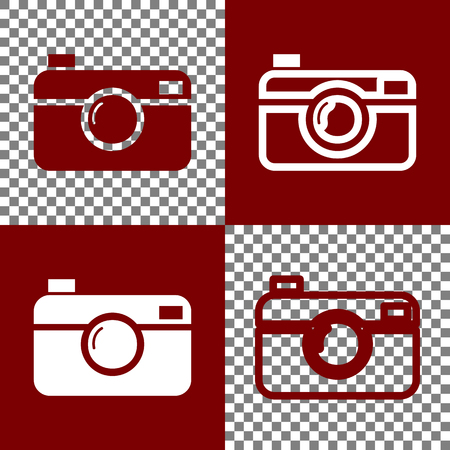 Digital photo camera sign. Vector. Bordo and white icons and line icons on chess board with transparent background. Illustration
