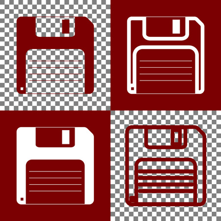 Floppy disk sign. Vector. Bordo and white icons and line icons on chess board with transparent background.