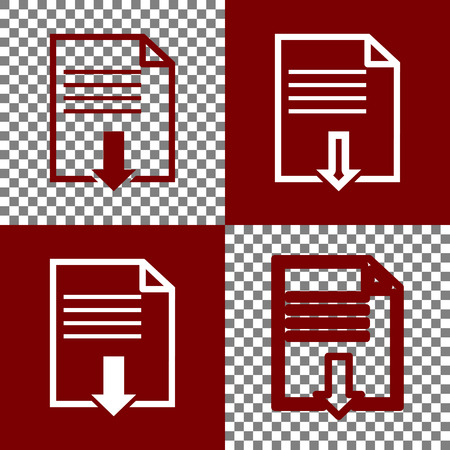 bordo: File download sign. Vector. Bordo and white icons and line icons on chess board with transparent background. Illustration
