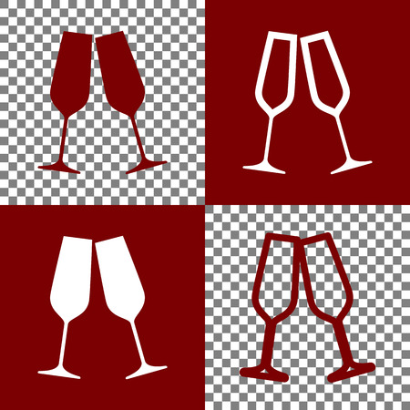 bordo: Sparkling champagne glasses. Vector. Bordo and white icons and line icons on chess board with transparent background. Illustration