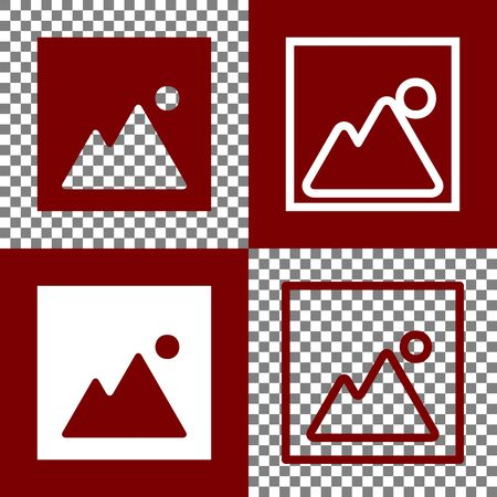 bordo: Image sign illustration. Vector. Bordo and white icons and line icons on chess board with transparent background.