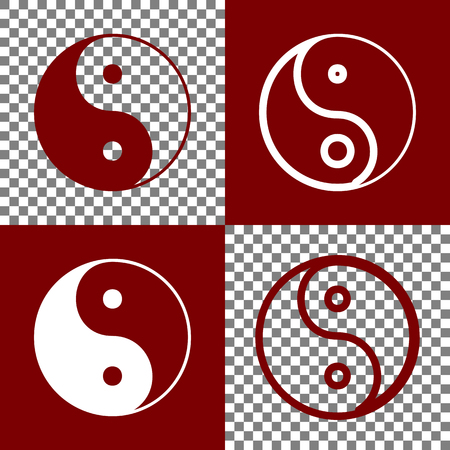 Ying yang symbol of harmony and balance. Vector. Bordo and white icons and line icons on chess board with transparent background.