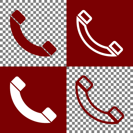 Phone sign illustration. Vector. Bordo and white icons and line icons on chess board with transparent background. Illustration