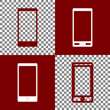 responsive: Abstract style modern gadget with blank screen. Template for any content. Vector. Bordo and white icons and line icons on chess board with transparent background.