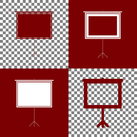 bordo: Blank Projection screen. Vector. Bordo and white icons and line icons on chess board with transparent background.