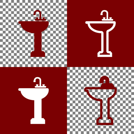 Bathroom sink sign. Vector. Bordo and white icons and line icons on chess board with transparent background. Illustration