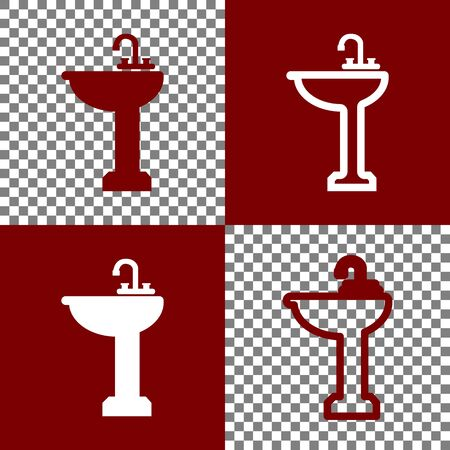 Bathroom sink sign. Vector. Bordo and white icons and line icons on chess board with transparent background. Stock Photo