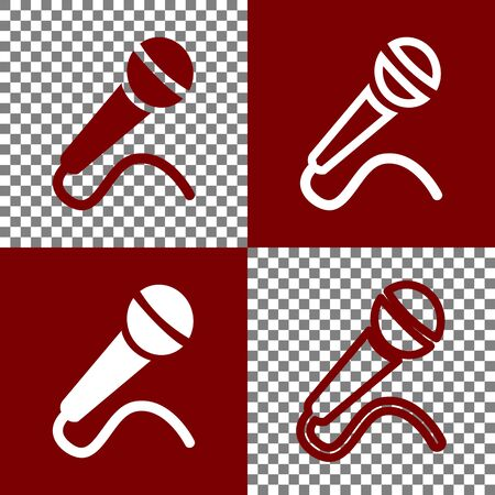 amplification: Microphone sign illustration. Vector. Bordo and white icons and line icons on chess board with transparent background.