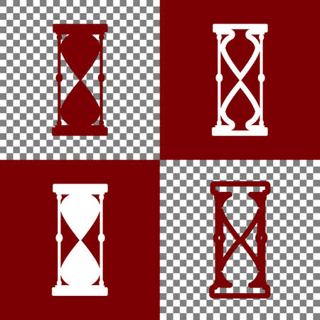 bordo: Hourglass sign illustration. Vector. Bordo and white icons and line icons on chess board with transparent background. Stock Photo