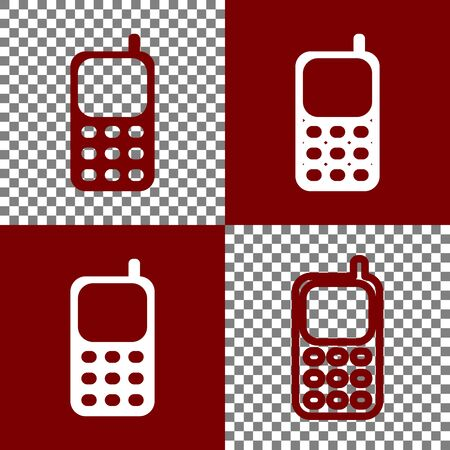 bordo: Cell Phone sign. Vector. Bordo and white icons and line icons on chess board with transparent background. Stock Photo