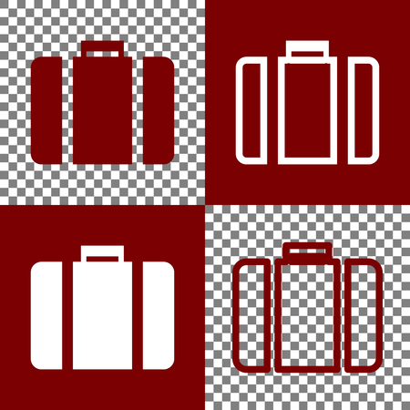 Briefcase sign illustration. Vector. Bordo and white icons and line icons on chess board with transparent background.