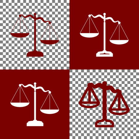 punish: Scales of Justice sign. Vector. Bordo and white icons and line icons on chess board with transparent background.