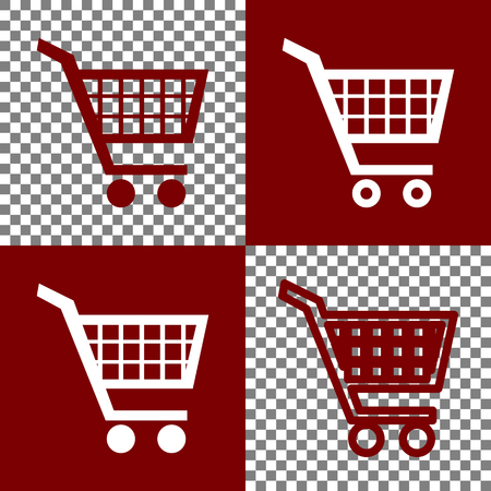 emarketing: Shopping cart sign. Vector. Bordo and white icons and line icons on chess board with transparent background.