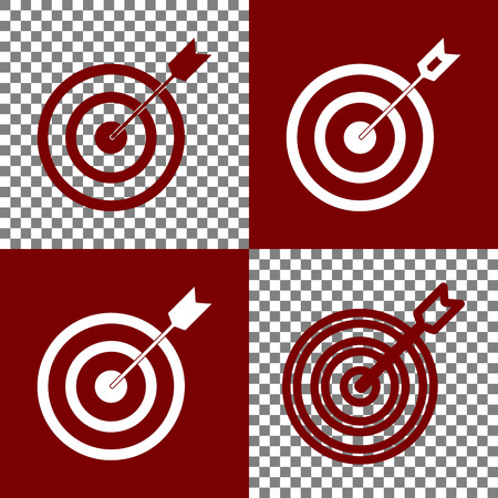 bordo: Target with dart. Vector. Bordo and white icons and line icons on chess board with transparent background. Illustration